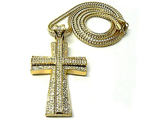"Iced Out Two Stack Pattee Cross Pendant 36"" Franco Chain Necklace - Gold-Tone MP667G"