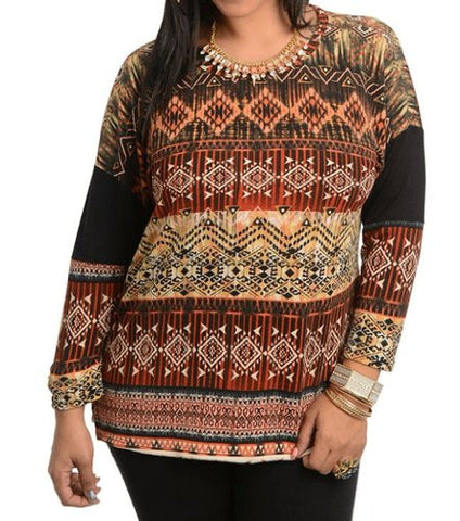 NYfashion101 Women's Tribal Top Long Sleeve Shirt Plus Size CN145892