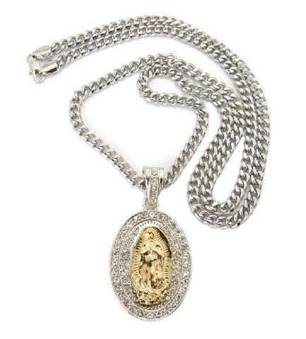 "Paved Saint Mary Pendant in Silver/Gold Tone w/ 36"" Miami Cuban Chain CP46RT"