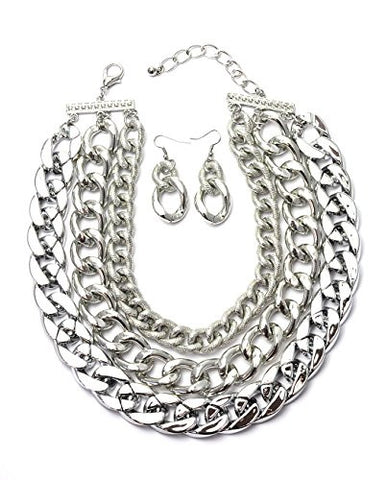 Tri-Link Chain Choker Necklace with Earrings in Silver-Tone ICN1008R