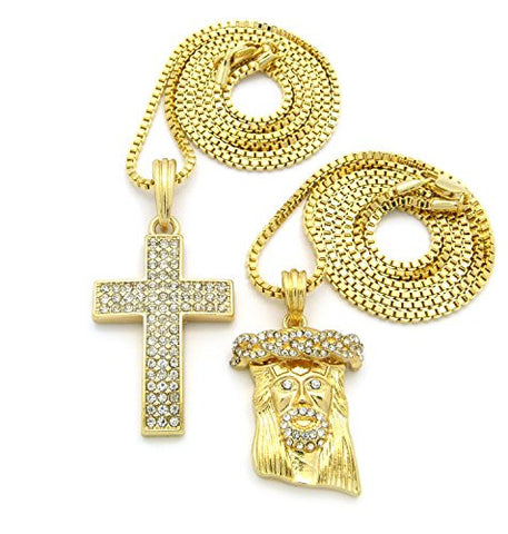 3 Row Pave Cross and Jesus Pendant Chain Necklace Set