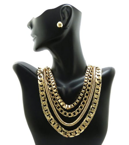 Gold Tone Assorted Multi Style Chain Necklace w/ Earrings JS6006GD