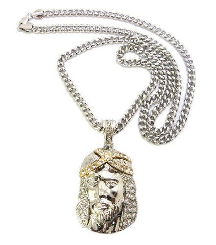 "Iced Out Jesus Pendant in Silver/Gold Tone w/ 6mm 36"" Cuban Chain CP31RT"