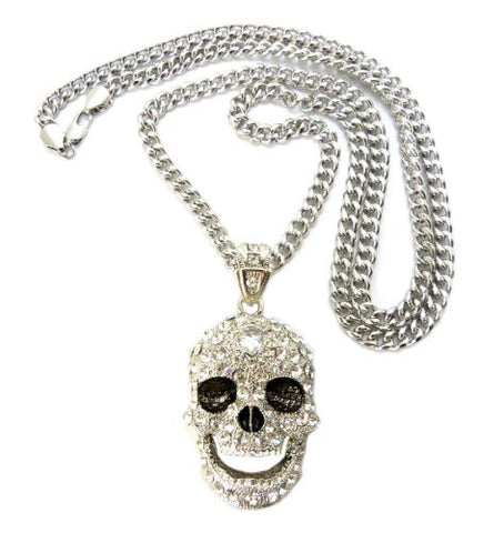 "Iced Out Skull Pendant in Silver Tone w/ 6mm 36"" Cuban Chain CP15R"