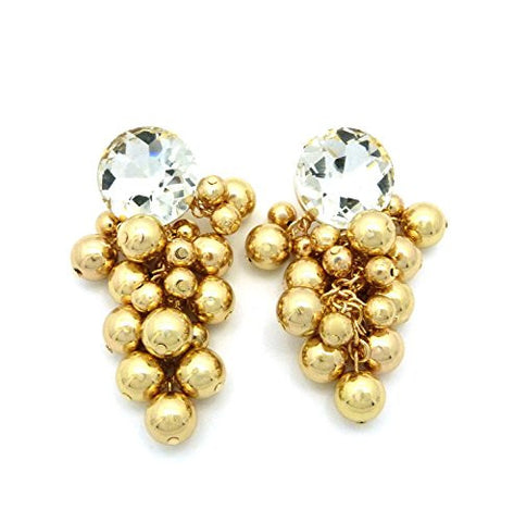 Ball Cluster Rhinestone Stud Drop Earrings in Gold-Tone