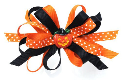 Halloween Style Dotted Ribbon Pumpkin Handmade Hair Clip MADE IN USA BC3034-2