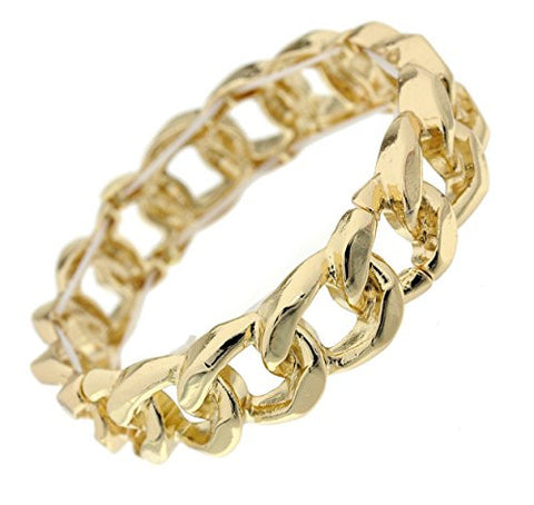 Chic Chain Look Stretch Bracelet in Gold-Tone