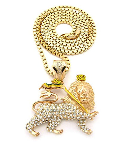 "Iced Out Rasta Lion Pendant 4mm 36"" Box Chain Necklace in Gold-Tone"