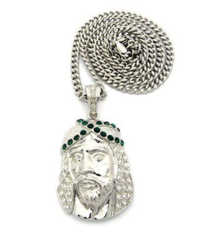 "Criss-Cross Crown Rhinestone Studded Jesus Pendant with 6mm 36"" Cuban Link Chain - Green/Silver-Tone"