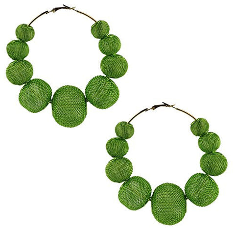 "2.75"" Mesh Ball Hoop Earrings"