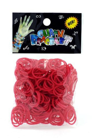 Refill for Loom Rubber Bands & Clips 600 Bands & 24 S-Clips Red