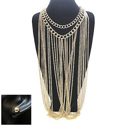 "Long Draping Chain 18"" Double Link Chain Necklace and Earrings Set in Gold-Tone"