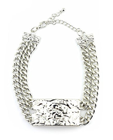 Hammered Plaque Double Chain Choker Necklace in Silver-Tone INC3014R