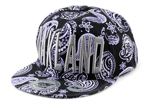 Oakland Embroidered Paisley Printed Snapback Flat Bill Cap