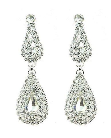 Rhinestone Studded Dual Teardrop Pattern Clear Gemstone Dangling Pierced Earrings in Silver-Tone