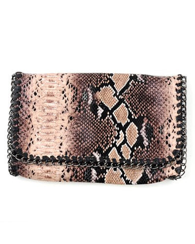 Exotic Snake Print Wid Flap Shoulder Bag w/Metal Chain Handbag ACS01