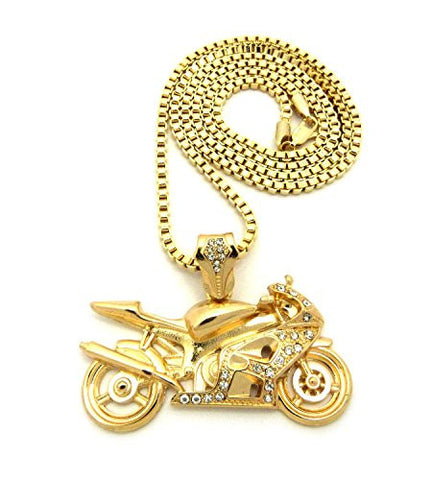 "Stone Stud Motorcycle Pendant with 3mm 30"" Box Chain Necklace - Gold-Tone"