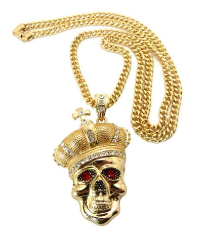 "Crown Skull King Pendant in Gold Tone w/ 36"" Miami Cuban Chain CP69G"