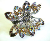 Top Quality Womens Rhinestone Flower Metal Claw Hair Clip Antique Silver 6 Colors