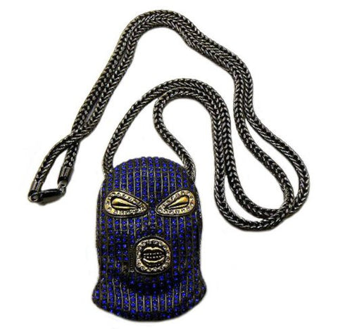 "Paved Blue/Hematite Tone Goon Ski Mask Pendant w/ 36"" Franco Chain MP426BL"