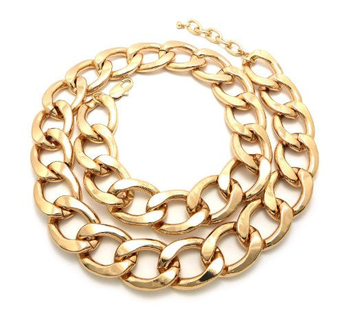 """Jumbo Size 30mm 33"""" Lightweight Aluminum Link Chain Fashion Necklace in Gold-Tone"""