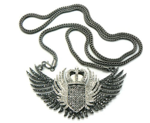 "Iced Out Crown Wing Pendant in Hematite/Clear Tone w/36"" Franco Chain MHP9HECR"