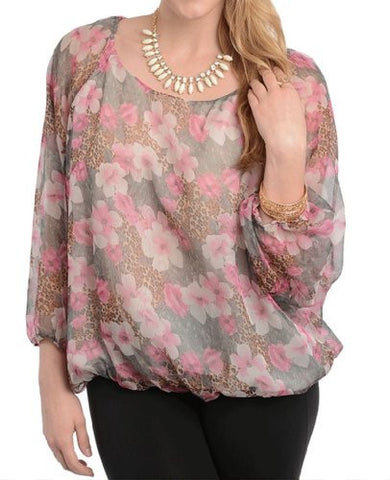 NYfashion101 Soft Sheer Flower & Animal Print Top Plus Sizes CN150221