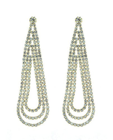 3 Pave Loop Strand Drop Earrings