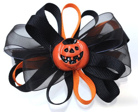 Halloween Style Ramie Ribbon Pumpkin Handmade Hair Clip MADE IN USA BC6035-1