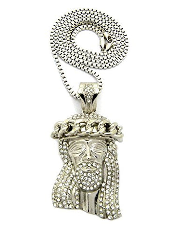 "Cuban Crown Stone Stud Jesus Head Pendant 3mm 30"" Box Chain Necklace in Silver-Tone"