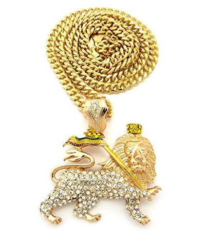 "Iced Out Rasta Lion Pendant 6mm 36"" Miami Cuban Link Chain Necklace in Gold-Tone"