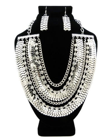 Silver Tone Rhinestone Charm Chain Necklace w/ Earrings DS1016GDCLR