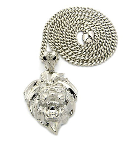 "Roaring Lion Head Pendant with 36"" Miami Cuban Chain Necklace in Silver-Tone XP947RMC"