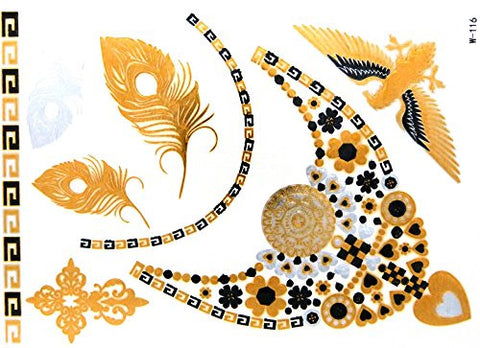 Feathers, Eagle, Heart & Flower Egyptian Design Celebrity Style Sticker Body Tattoos (3 Sheets)