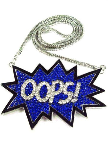 "Iced Out Blue ""OOPS!"" Pendant w/36"" Franco Chain in Silver-Tone"