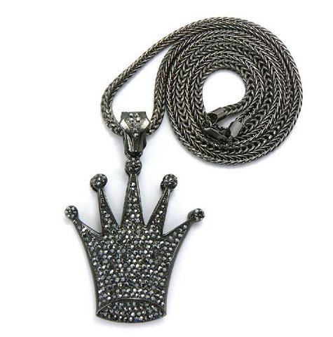"Hematite Tone Pave Crown Pendant w/ 4mm 36"" Franco Chain MP555HE"