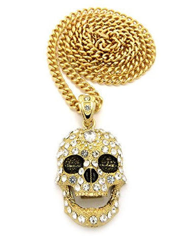 "Pave Smiling Skull Pendant with 6mm 36"" Cuban Link Chain - Gold-Tone"