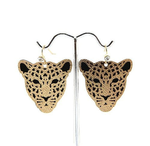 Leopard Face Drop Earrings in Gold-Tone