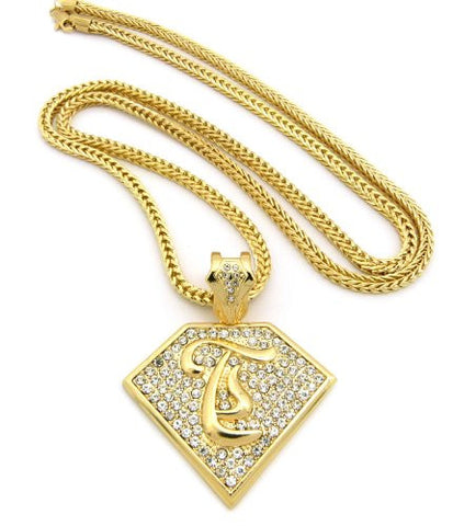 "Initial T Iced Out Rapper Pendant w/ 4mm 36"" Franco Chain - Gold Tone XP938GFC"
