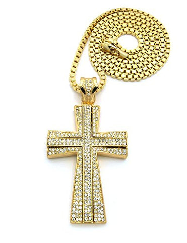 "Iced Out Layer Cross Pendant w/ 36"" Box Chain Necklace - Gold Tone XP667GBX"