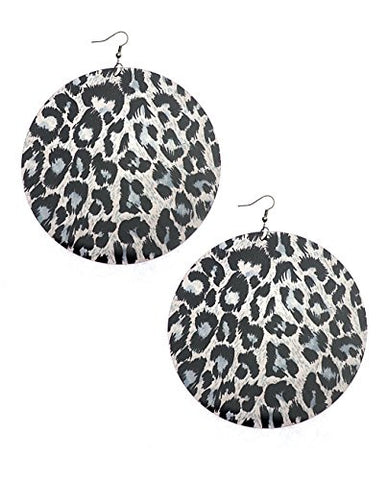 Cheetah Print Big Acrylic Plate Drop Earrings