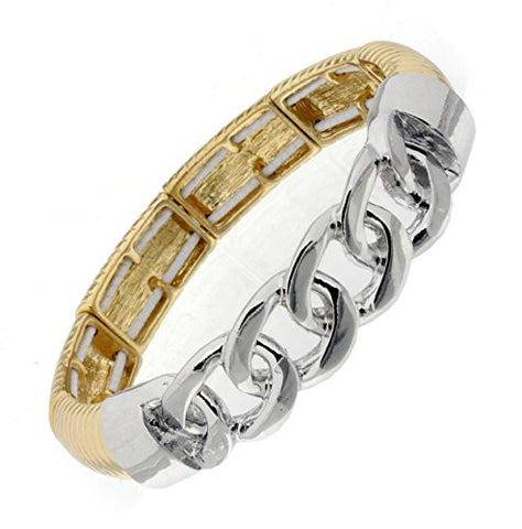 Link Chain Charm Stretch Bracelet in Two-Tone
