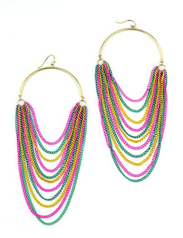 Chandelier Drop Chain Fashion Earrings - Teal/Yellow/Pink E4031MT3