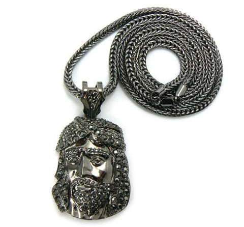"Iced Out Hematite Tone Jesus Face Pendant w/ 4mm 36"" Franco Chain MP427HE"
