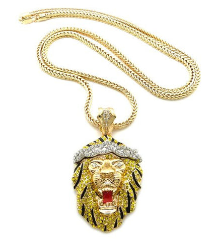 "Two-Tone Iced Out Roaring Lion Pendant 4mm 36"" Franco Chain Necklace"