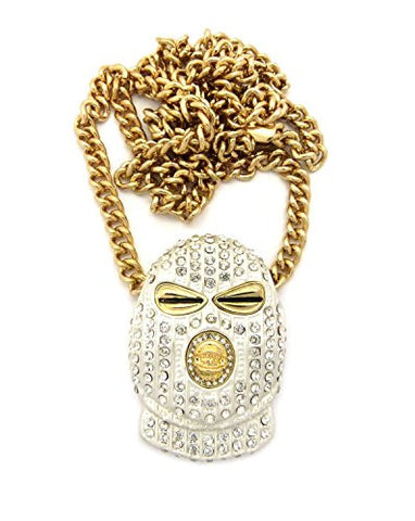 "Iced Out White Goon Mask Man Pendant with 36"" Cuban Link Chain Necklace in Gold-Tone"