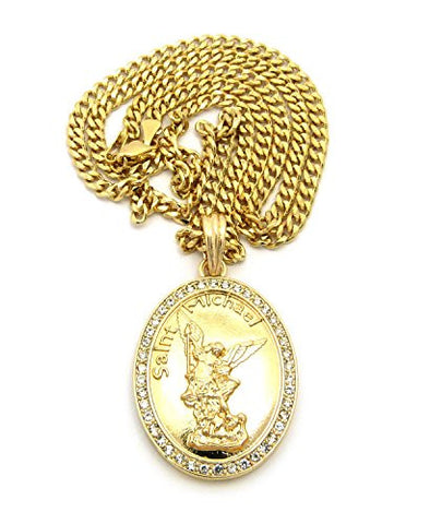 "Stone Stud Frame Saint Michael Oval Pendant 3mm 24"" Concave Diamond Cut Cuban Chain in Gold-Tone"