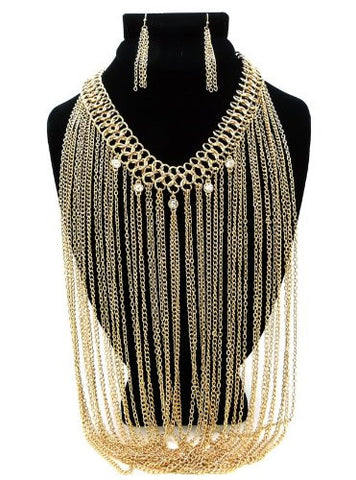 Rhinestone Charm Gold Tone Drop Chain Necklace w/ Earrings DS1017GDCLR