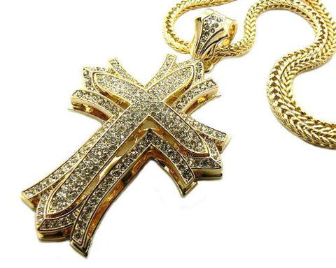 "Gold Tone Paved Golthic Style Cross Pendant w/ 4mm 36"" Franco Chain MP481G"