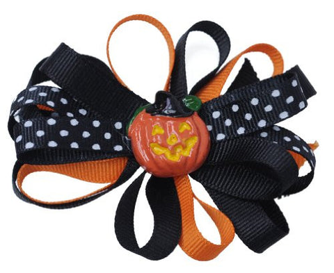 Halloween Style Dotted Ribbon Pumpkin Handmade Hair Clip MADE IN USA BC6009-1